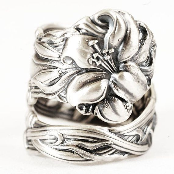 Lily Spoon Ring Lovely Frontenac Victorian Era by Spoonier on Etsy, $68.00