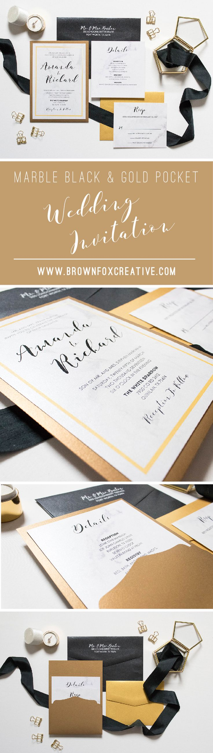 how to return address wedding envelopes%0A  x  Formal Back Pocket Marble Wedding Invitation in Black and Gold  u      Includes Inserts and Return