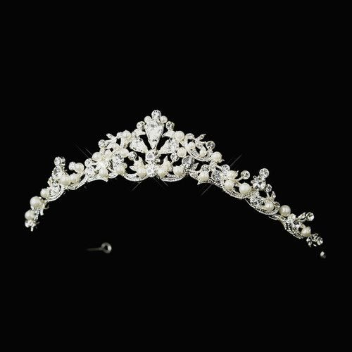 New White Pearl and Diamante Rhinestone Wedding Bridal Tiara