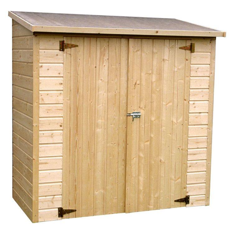 1.66 m² hors tout - hauteur  180 cm - panneaux bois massif 12 mm labellisé PEFC - fond + plancher compris - verrou - toiture agglomérée - 90 kg