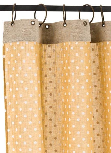 Rideau voilage à Pois jaune En fil d'Indienne chez Cosydeco.com