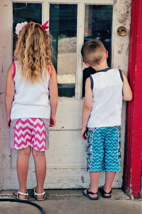 Long Beach Board Shorts pattern boys girls by TerrasTreasuresShop; Sizes 3-6mo to 14
