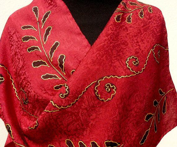 Burgundy silk scarf. Hand painted burgundy gold black by Irisit