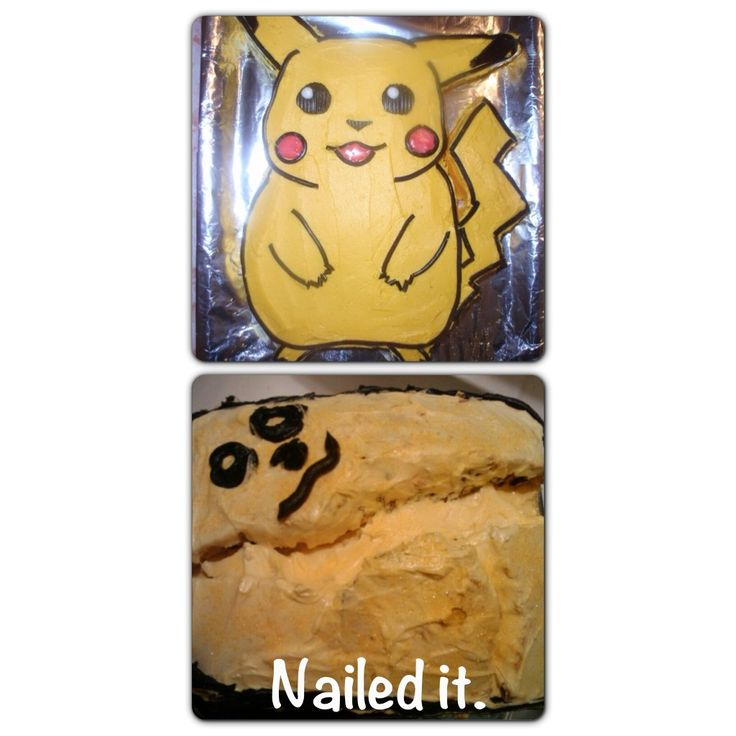 Cake Designs Gone Wrong : Pikachu cake gone bad. Nailed it! Arts and Crafts done ...