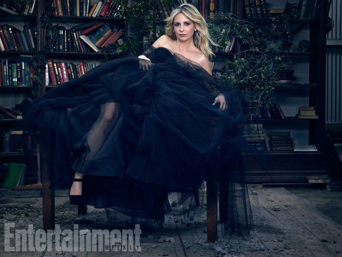 Buffy The Vampire Cast Reunion Shoot (2017) Sarah Michelle Gellar of Buffy The Vampire Slayer photographed exclusively for Entertainment Weekly by James White on March 7th, 2017 in Los Angeles. Styling: Annie Jagger/The Only Agency; Prop Styling: Andy Henbest/Art Department; Gellar's Hair: Mara Roszak/Starworks Agency; Makeup: Marco de Souza/NARS/Wilhelmina; Dress: Farrah Angsana; Shoes: Jimmy Choo; Jewelry: Erickson Beamon; Production: Allison Elioff/Sunny 16 Productions