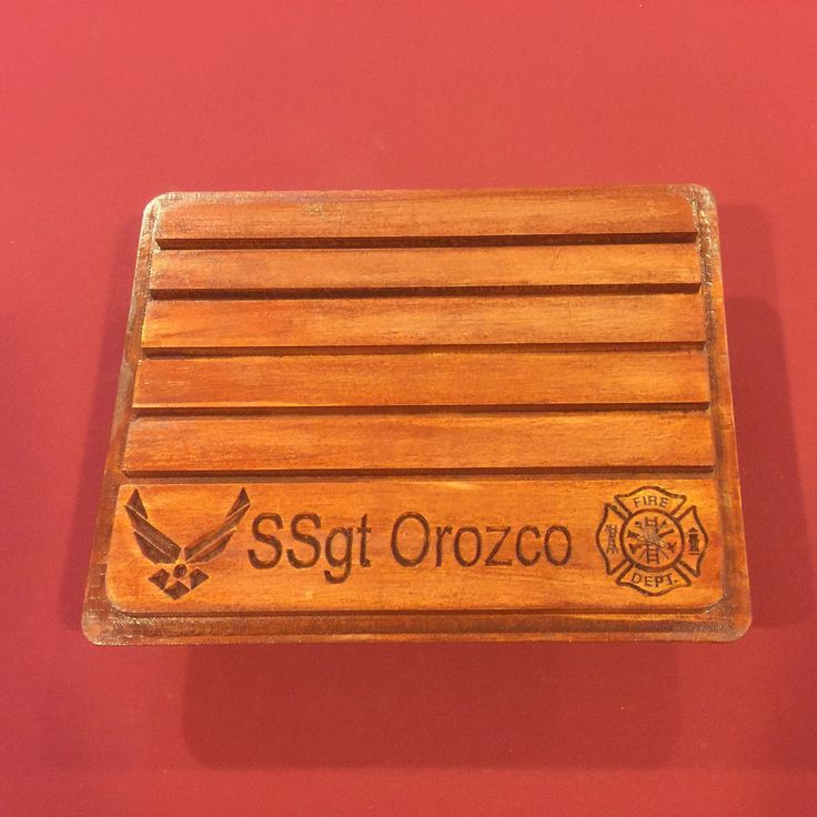 Customized military challenge coin holder for an Air Force fire fighter.