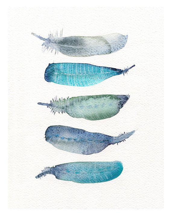 Watercolor artwork - feather print from original watercolor art - 5 Bird feathers - trendy boho art - giclee artwork watercolor - Modern art on Etsy, $18.00