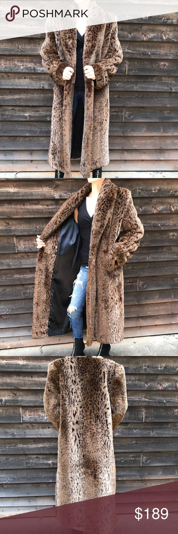 """Vintage 80's Faux Long Leopard Fur Coat Full Length Faux Leopard Fur Coat. Heavy and oh so amazing. Super Soft and comfortable.  States size 10. Model is a size 2. 48"""" long. Hook and eye closure. Great condition. Vintage Jackets & Coats"""