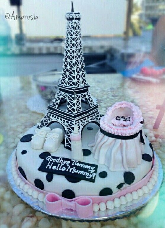 Parisian Themed Baby shower cake! #EiffelTower #Paris #BabyShower #Themes #Pink #White #CustomizedCakes