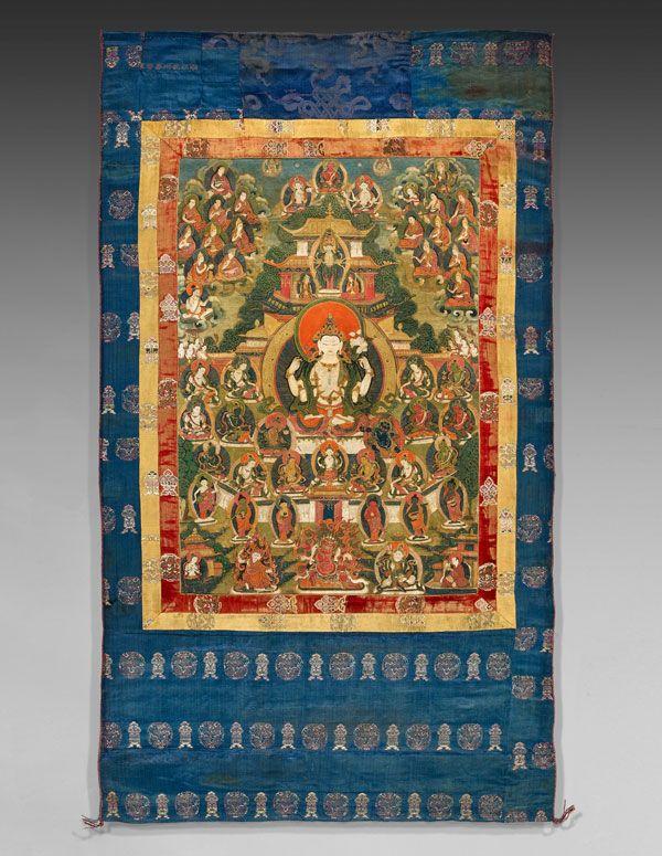sadaksari lokeshvara tibet xviiie si cle d trempe sur toile 135 x 78 cm photo renaud. Black Bedroom Furniture Sets. Home Design Ideas