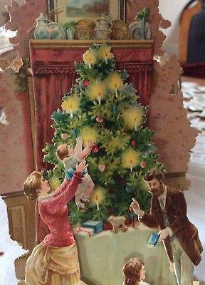 1900 Weihnachtsschmuck Oblate Litho Präge Weihnachtsbaum