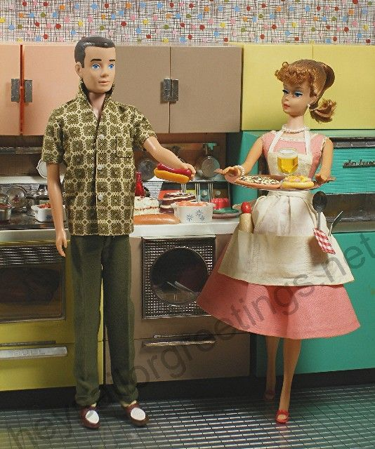 Barbie and Ken with the Deluxe Dream Kitchen by Reading/Topper Toys (1963) by Hey Sailor Greetings