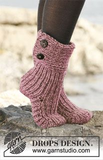 """Knitted DROPS slippers in 2 threads """"Nepal"""". ~ DROPS Design"""