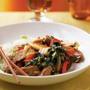 Choose quick-cooking flank steaks for a speedy stir-fry dish packed with shiitake mushrooms and bok choy. These ingredients from the Orient combine to give the recipe high-impact flavor.