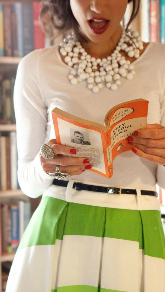 :: Fashion, Statement Necklaces, Style, Dress, Outfit, Book, Striped Skirts, Kate Spade