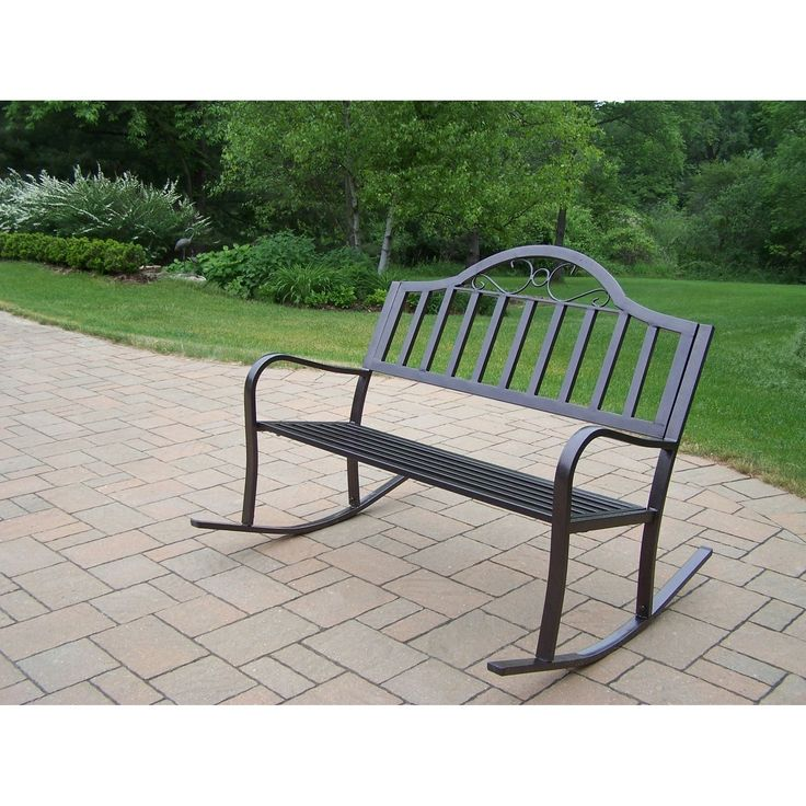 Oakland Living Corporation Hometown Extruded Iron Rocking Bench (Hammer  Tone Brown), Black,
