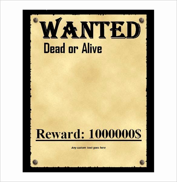 Wanted Poster Word Template Fresh 6 Wanted Poster