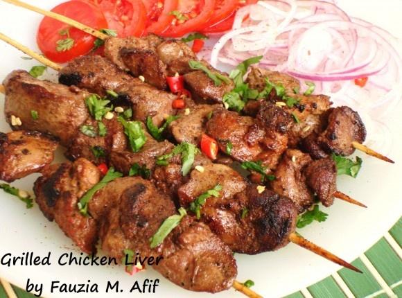 Grilled Chicken Liver   Fauzia's Kitchen Fun