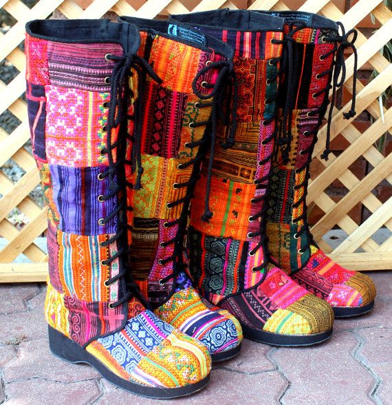 Womens Boho Boots In Colorful Vintage Ethnic Hmong Patchwork Lace Up