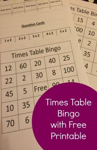 Times Table Bingo With Free Printable »