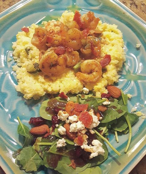 Dinner from the other night: shrimp and grits with a spinach salad. The grits are cheesy cauliflower  I made this meal for my parents their first time having cheese cauli-grits and they LOVE it!!    #healthyfats #keto #lowcarb #lowcarbhighfat #LcHf #Atkins #ketogenic #ketofamily #nutrition #eatfatburnfat #glutenfree #fatfueled #nutritionalketosis #nosugar #ketosis #lifestyle #fatadapted #fatisfuel #fatbomb #ketolife #shrimpandgrits #spinach #cauliflower #ketopregnancy #pregnant #pregnancy…