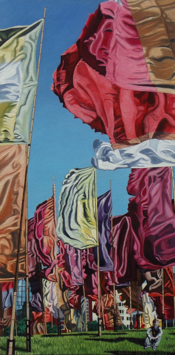 """""""Field of Flags"""", Oil on Canvas, 60cm x 26cm, Sold"""