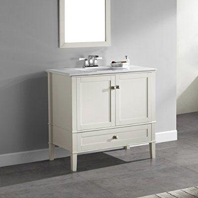 "Simpli Home Chelsea 24"" Bath Vanity with White Quartz Marble Top, Soft White"