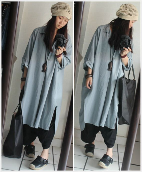 Loose Fitting Linen Blend Blouse Dress for Women   Blue