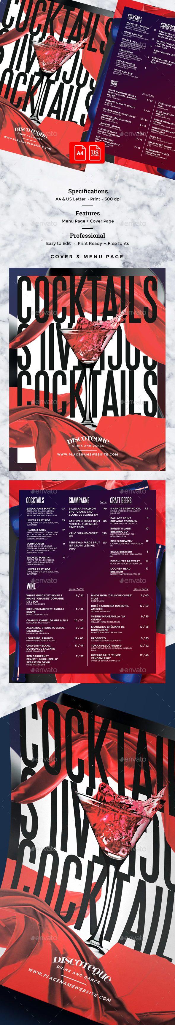 Cocktail Drinks Menu - #Food Menus #Print Templates Download here: https://graphicriver.net/item/cocktail-drinks-menu/20112180?ref=alena994