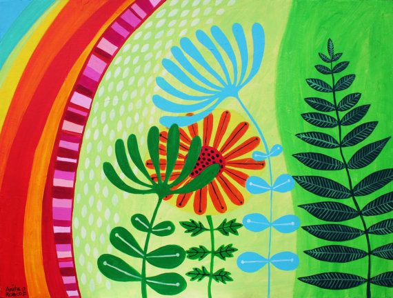 Spring Flowers. Acrylic on canvas from Etsy AnitaRomeoPaintings