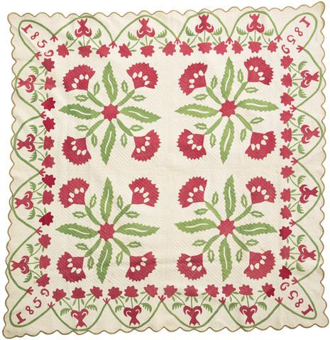 A pieced and appliqued 'Coxcomb Flower' variant quilt possibly Pennsylvania dated 1859