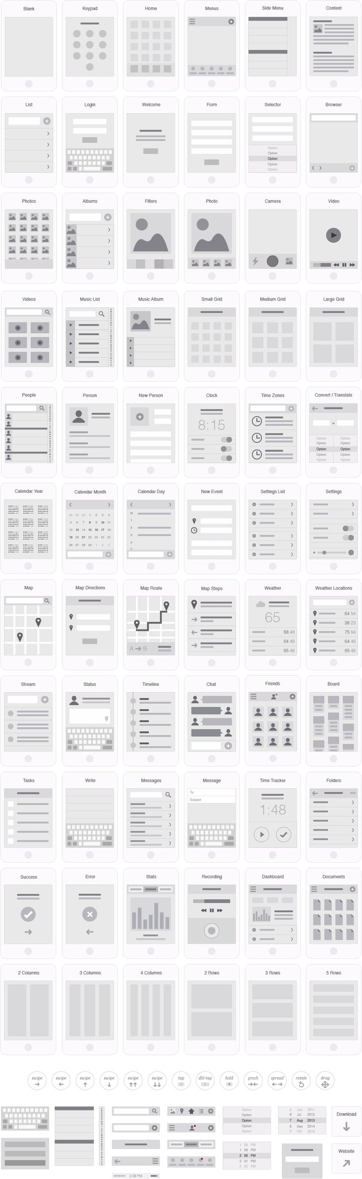 Mobile App Visual Flowchart Illustrator Template – UX Kits uxkits.com