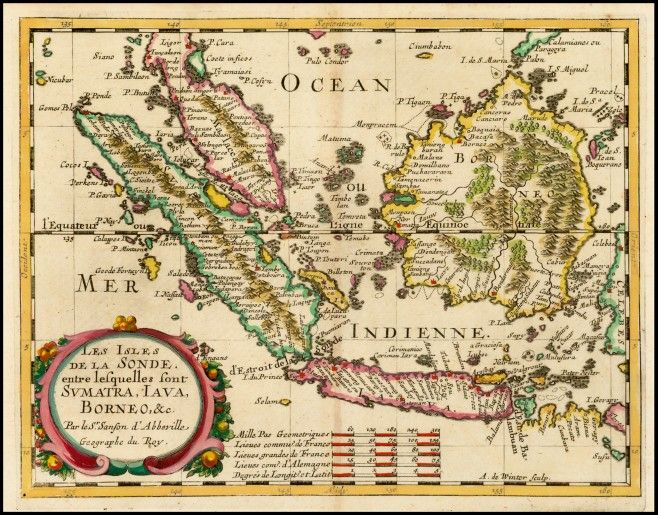 Old Borneo, Sumatra, Malaya and Java Island by Nicholas Sanson in 1657