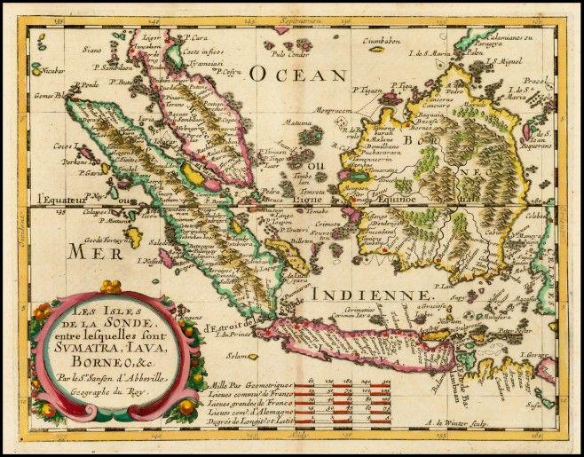 Old Borneo, Sumatra, Malaya and Java Island by Nicholas Sanson in 1657