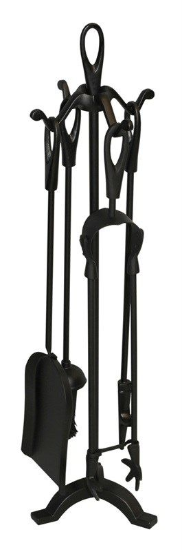 Fireside tools companion set includes tongs, brush, poker and shovel with a loop handled stand for when the tools are not in use. The set comes complete with stand - everything you need to keep your fireside clean and your fire going throughout the colder months. Ideal for use with chimeneas during the summer.This companion set is available in two sizes, please select from the drop down list which size you require.