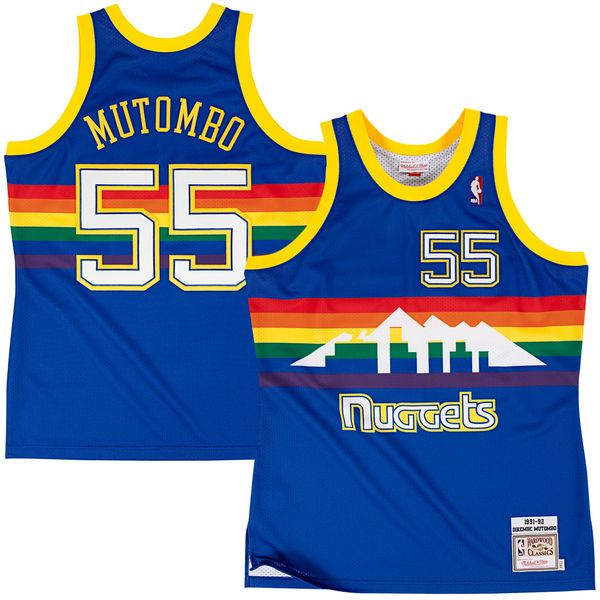 Dikembe Mutombo Denver Nuggets Mitchell & Ness Authentic Basketball Jersey – Navy Blue - $249.99