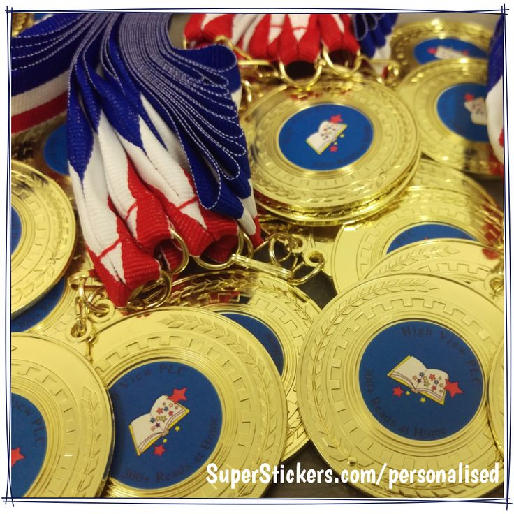 Personalised round gold medals make great end of term prizes or brilliant sports day awards