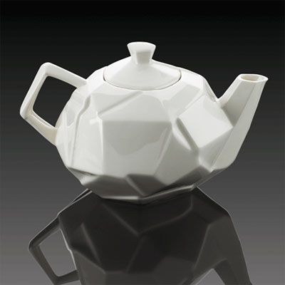 This teapot is a modern take on the traditional white teapot by William Harvey which apparently 'shatters your expectations.