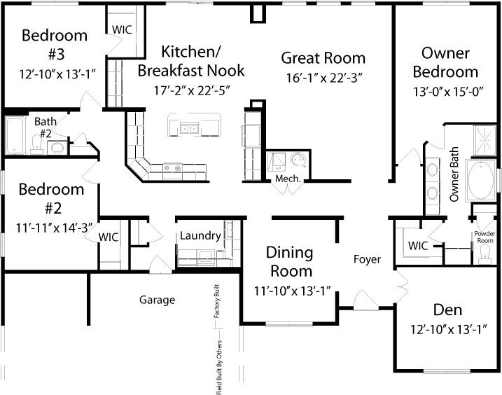 Manchester II (Ranch) Floorplan Of Classic Collection   Modular Home   All American  Homes