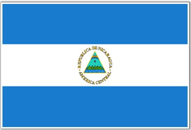 The Nicaraguan flag has three horizontal bands. The white band represents the territory of Nicaragua as well as its pureness.   The two blue bands signify the two oceans that border Nicaragua.   The coat of arms features a triangle encircled by the words REPUBLICA DE NICARAGUA on the top and AMERICA CENTRAL on the bottom.