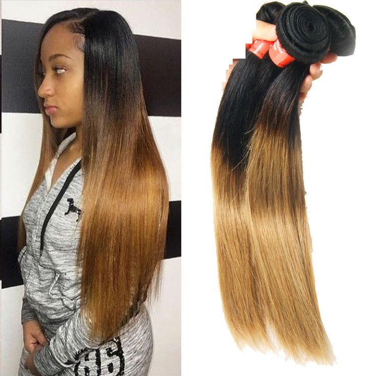 "150g 10"" 100% Brazilian Real Human Hair Extension 1B/27 Straight Hair Weft #Unbranded"