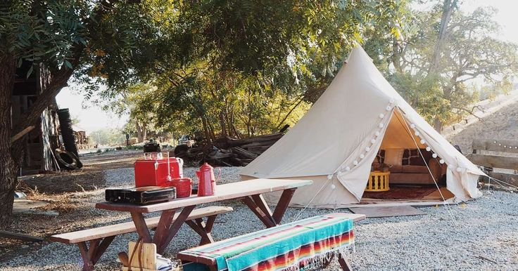 Whiskey Ranch in Whiskey Ranch, California | Glamping in the Tee Pee style canvas Bell Tent I brought to Burning Man. It is equipped with a memory foam queen bed, couch, rugs,...
