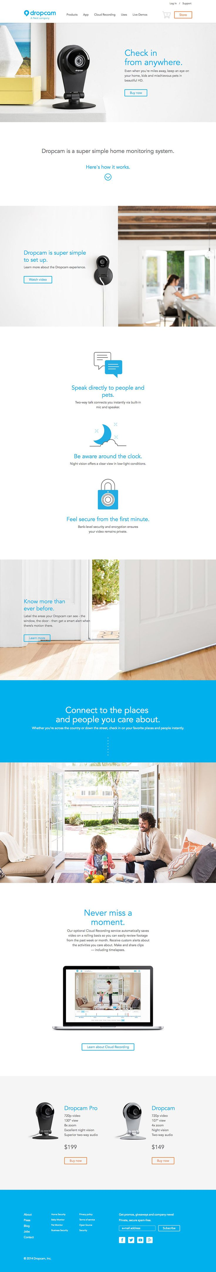 Limited products allows for a deeper story on the Dropcam homepage website…