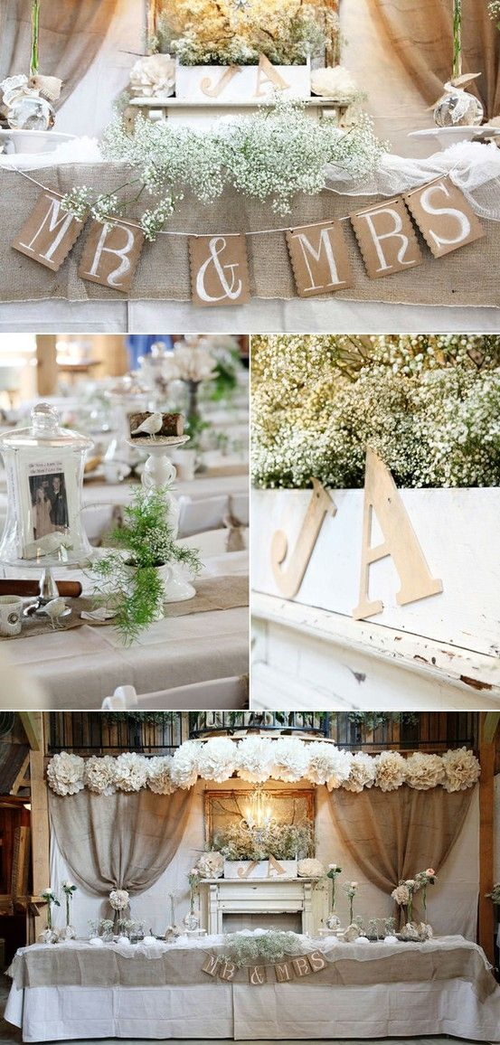 Food Table but drape topper, not straight, burlap backdrop, cream sheer curtains, paper lanterns, large floral centerpiece.  We still need to decide on what else to hang on either side of flowers.  Rustic Wedding by Moochiemomma