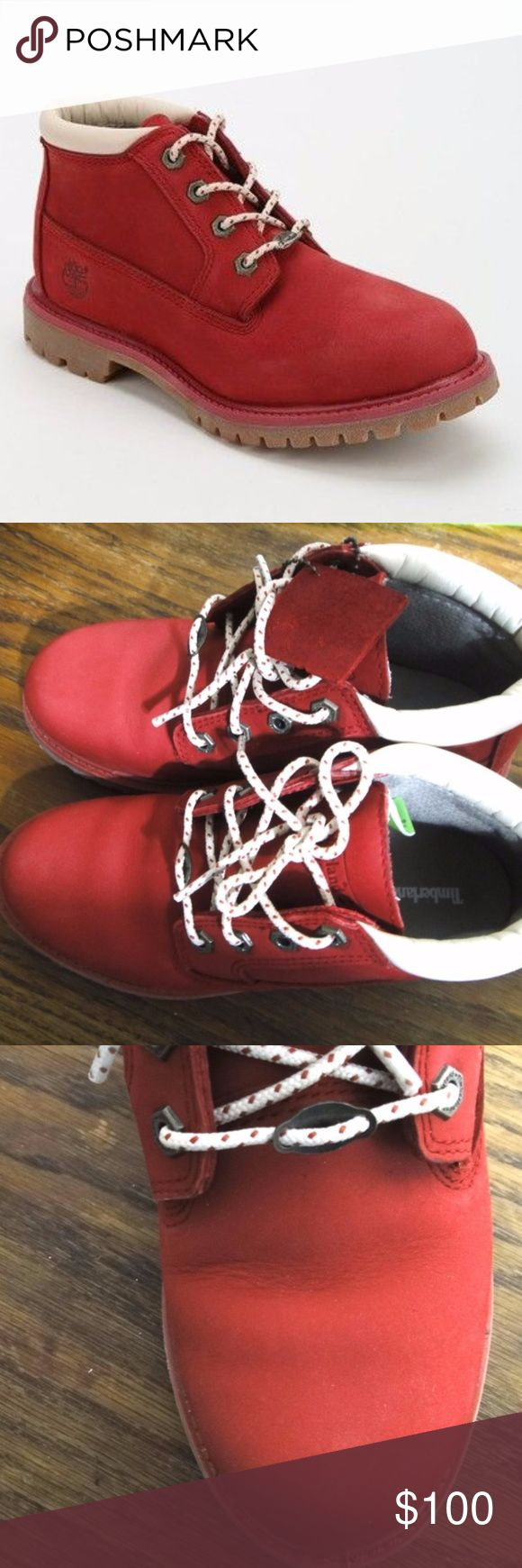 Timberland Nellie Boots Red Nubuck Barely worn and almost new,  you can see this from the condition of the soles. Original shoe box included. Timberland Shoes Ankle Boots & Booties