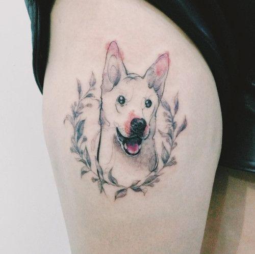 Dog Portrait Tattoos by Tattooist Doy