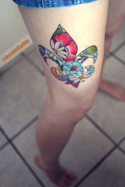 colorful flor de lis tattoo