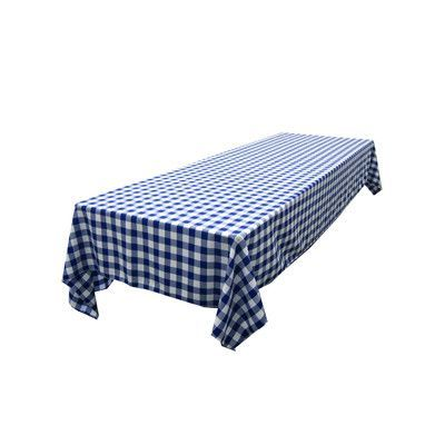 """LA Linen Polyester Gingham Checkered Rectangular Tablecloth Color: White and Royal Blue, Size: 60"""" x 102"""""""