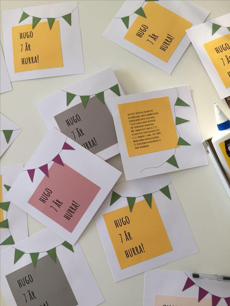 Inbjudan till 7 årskalas! #barnkalas #DIY #inbjudan #kalas #festligt #invite