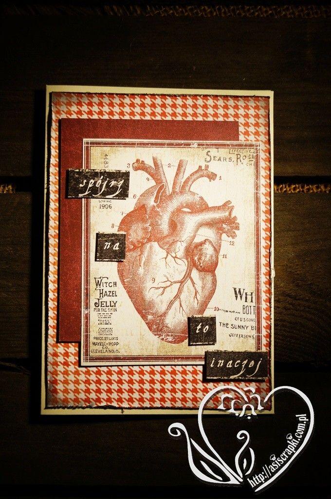 kartka walentynkowa z sercem #asiscrapki
